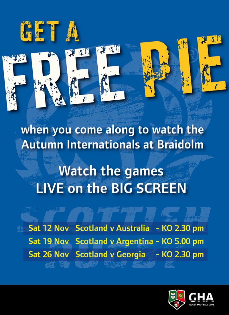FREE PIE offer for Autumn Internationals
