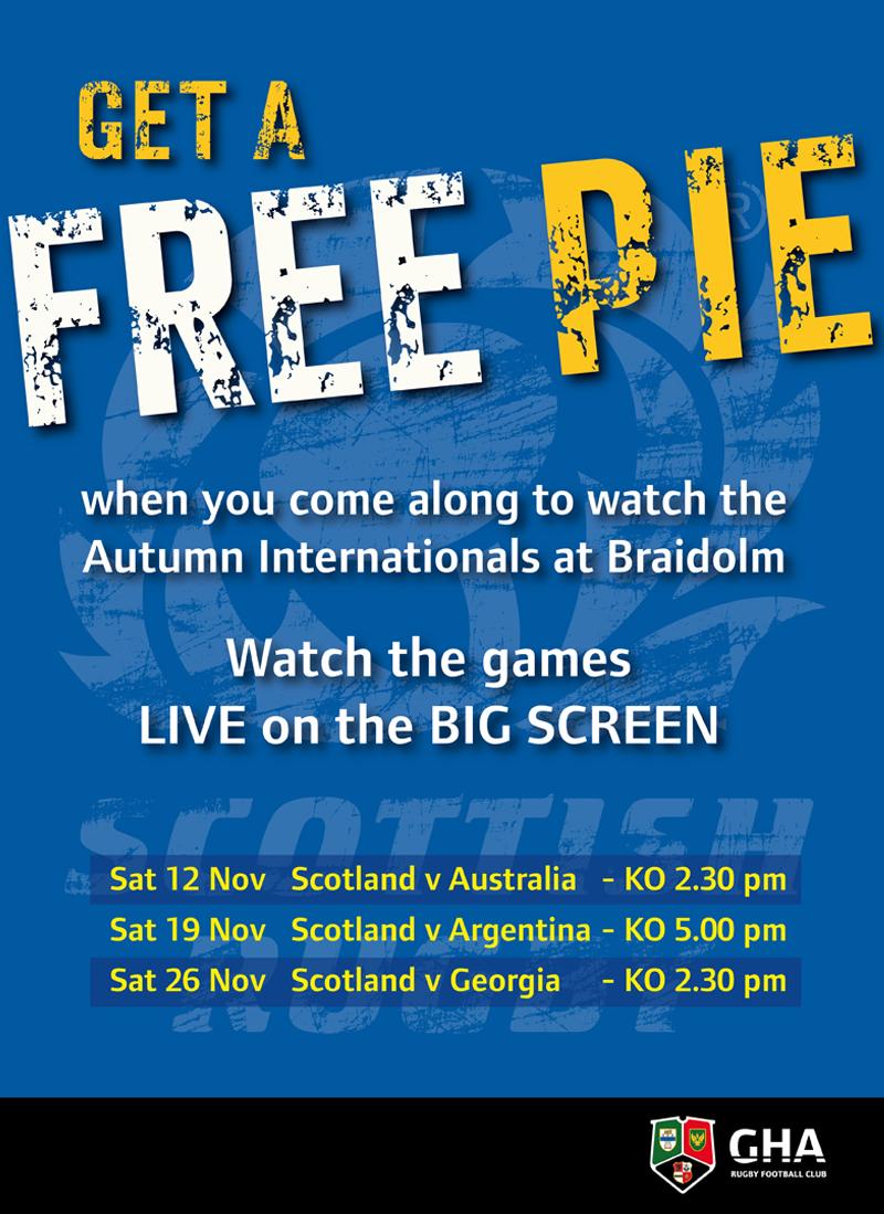 FREE PIE offer for Autumn Internationals